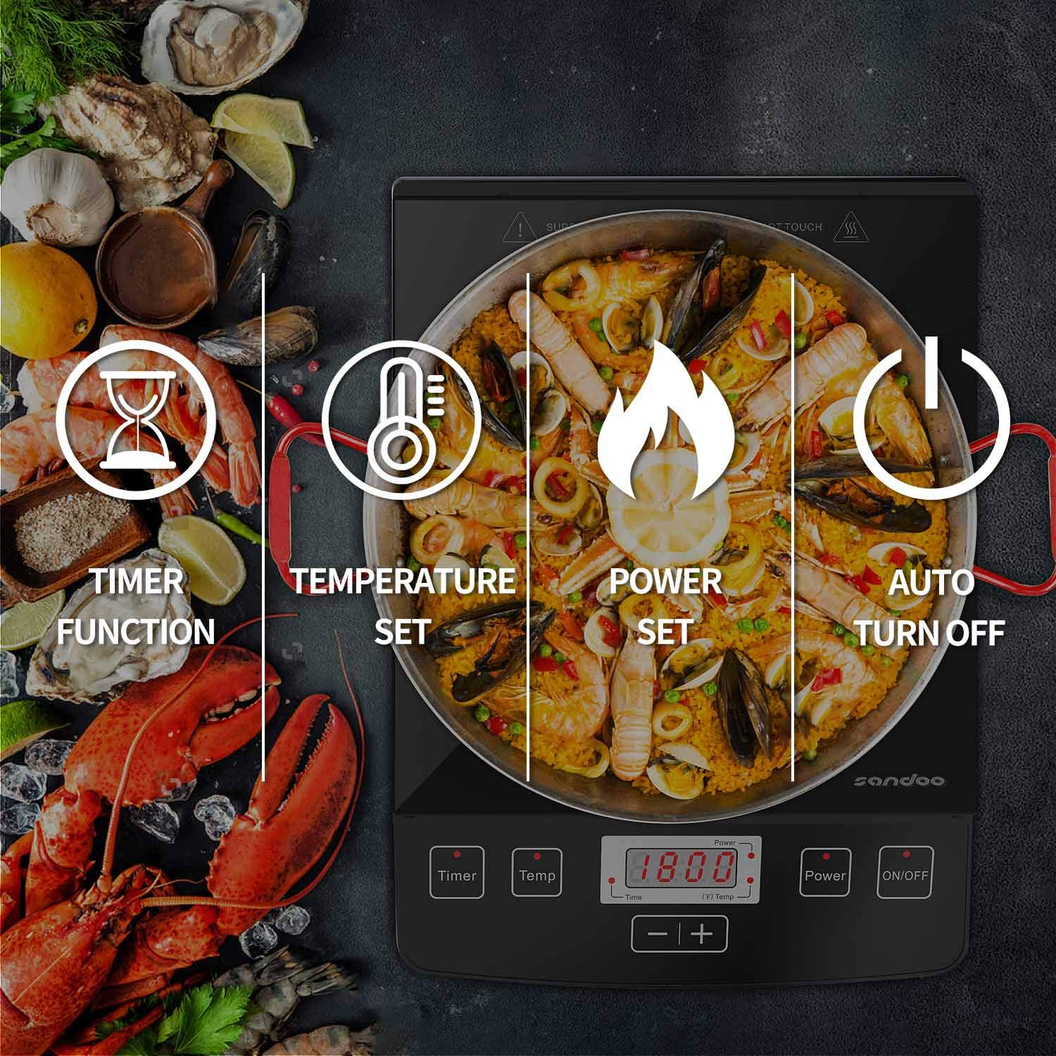 Sandoo HA1865 Induction Cooktop, 1800W Portable Light Weight Countertop Burner, Digital Electric Cooker Burner, with Timer 15 Temperature Power Setting, Suitable for Home Kitchen, RV, Apartment by Sandoo (Image #4)