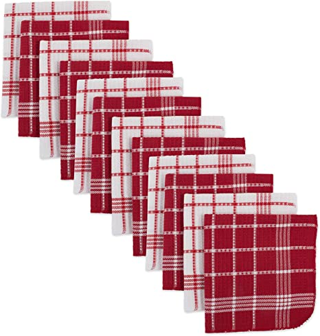 Dii Waffle Weave Kitchen Collection 100 Cotton Machine Washable Fast Drying And Absorbent Dishcloth Set Red 12 Count Home Kitchen