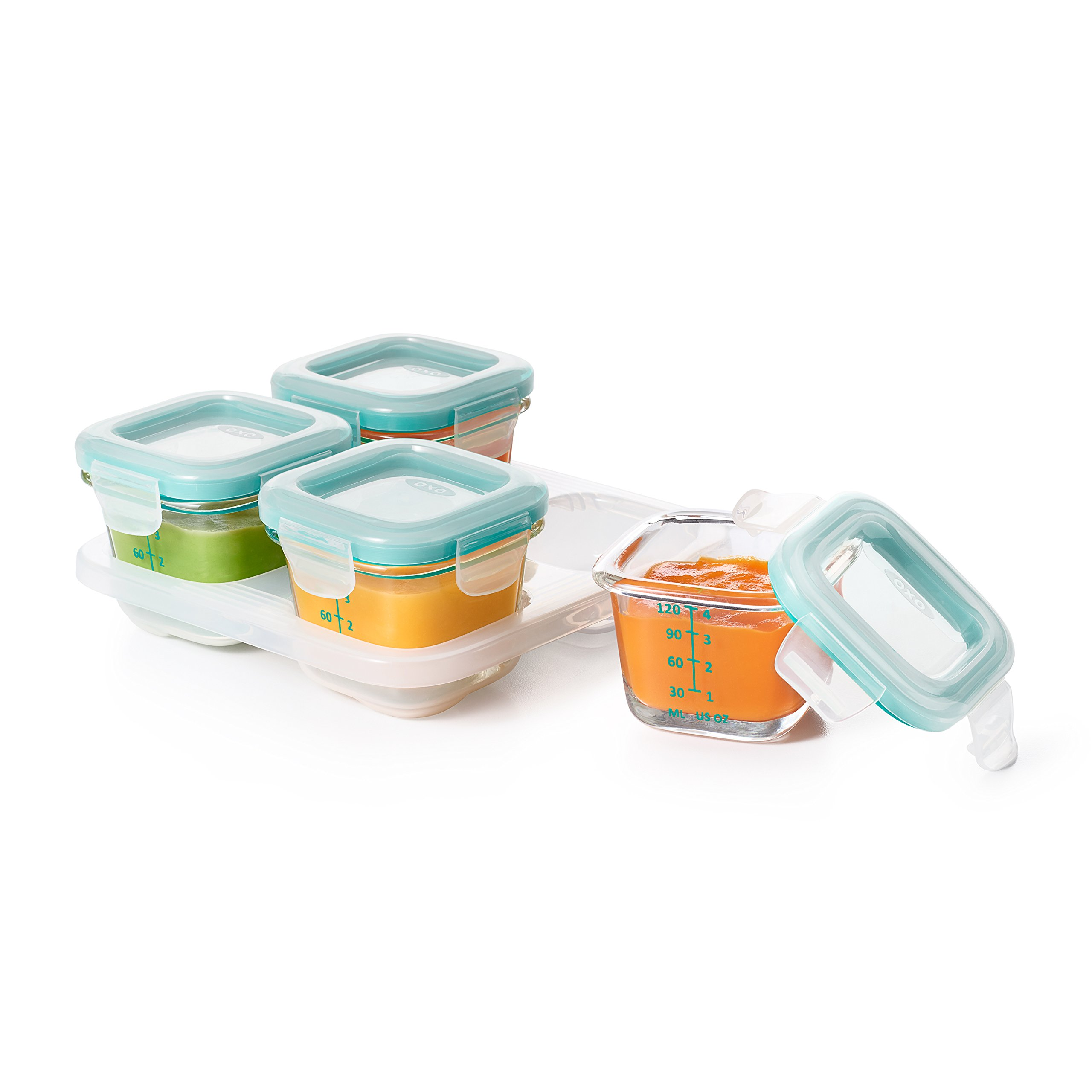 OXO Tot Glass Baby Blocks Food Storage Containers, Teal, 4 oz