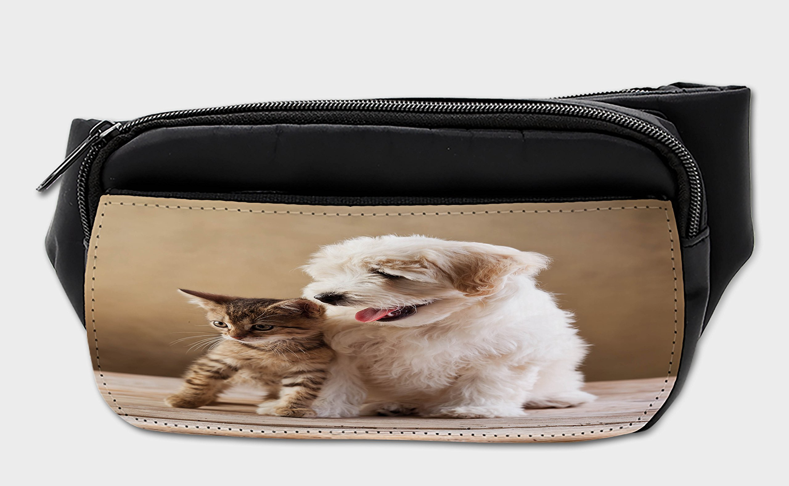 Ambesonne Animal Bumbag, Kitten And Dog Friends, Fanny Pack Hip Waist Bag