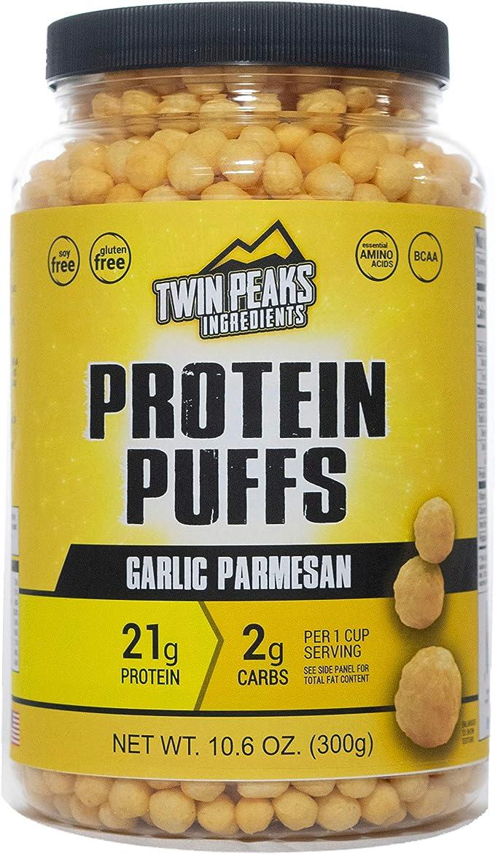 Twin Peaks es bajo en calorías, Protein Puffs es apto para alérgicos, Queso Cheddar Jalapeño (300g, 21g de proteína, 2g de carbohidratos, 120 ...