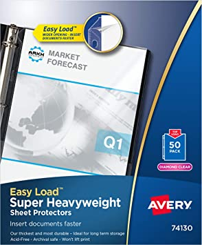 Quick Top /& Side Loading Sheet Protectors Letter Diamond Clear 50//Box 6