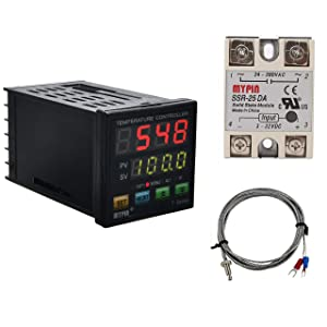 PID Temperature Controller Meter Indicator, Jaybva Digital Programmable Universal Thermostat Fahrenheit and C Display SSR and Alarm Output 25A Solid State Relay Thermocouple Probe Included