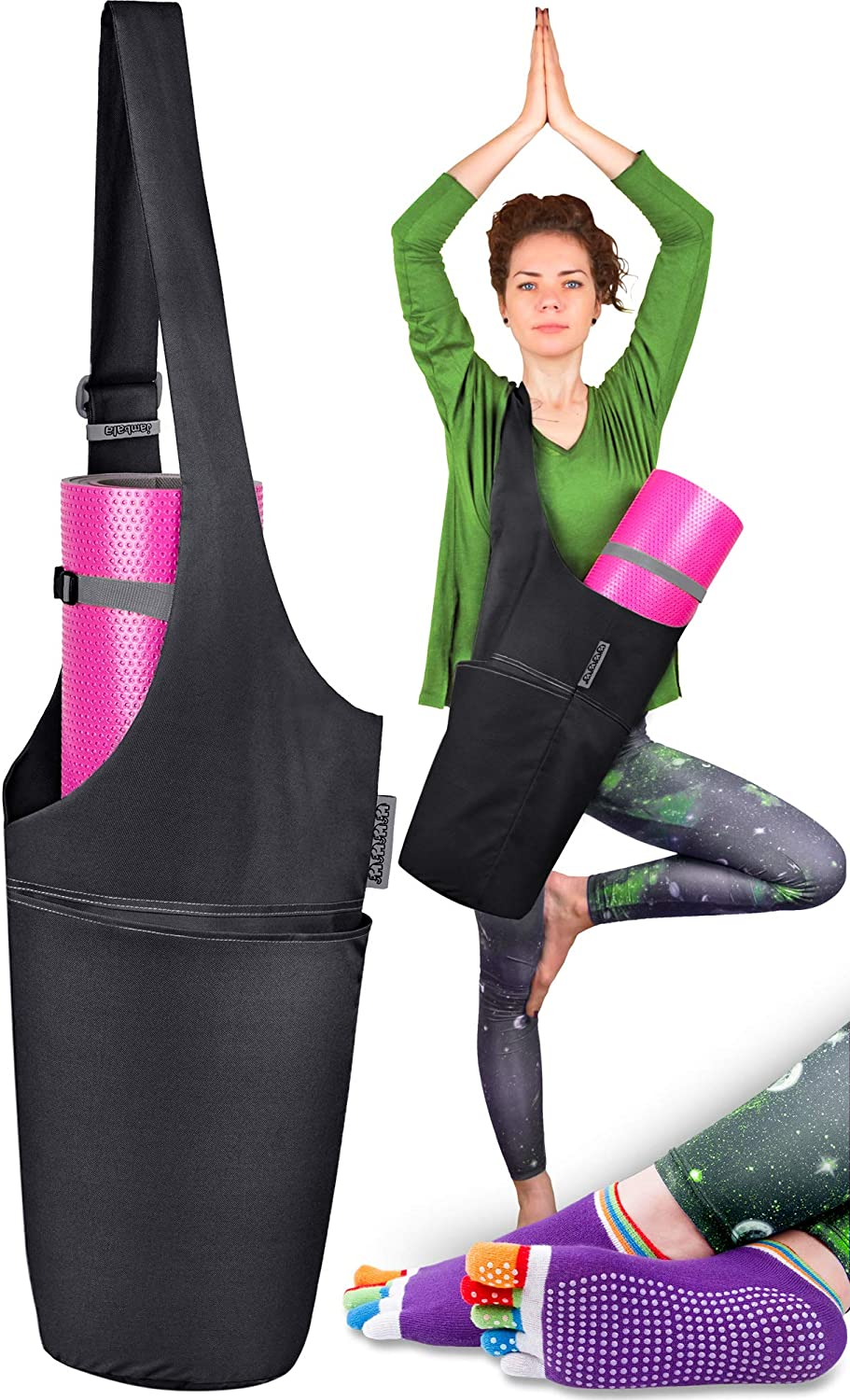 Jambala Large Yoga Mat Bag Carrier and Socks Bundle, 4 Pockets