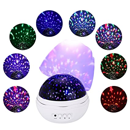 Jamswall Stars Sky Night Light Projector 8 Light Projection Modes 360 Degree Rotating Ceiling Projector Light Led Night Lighting Lamp For Baby