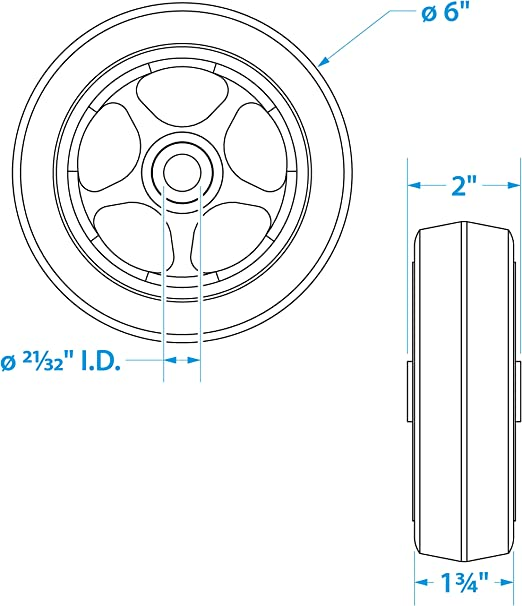 """SEACHOICE 52070 Replacement Wheel for Fold Up Boat Trailer Jack 6"""""""