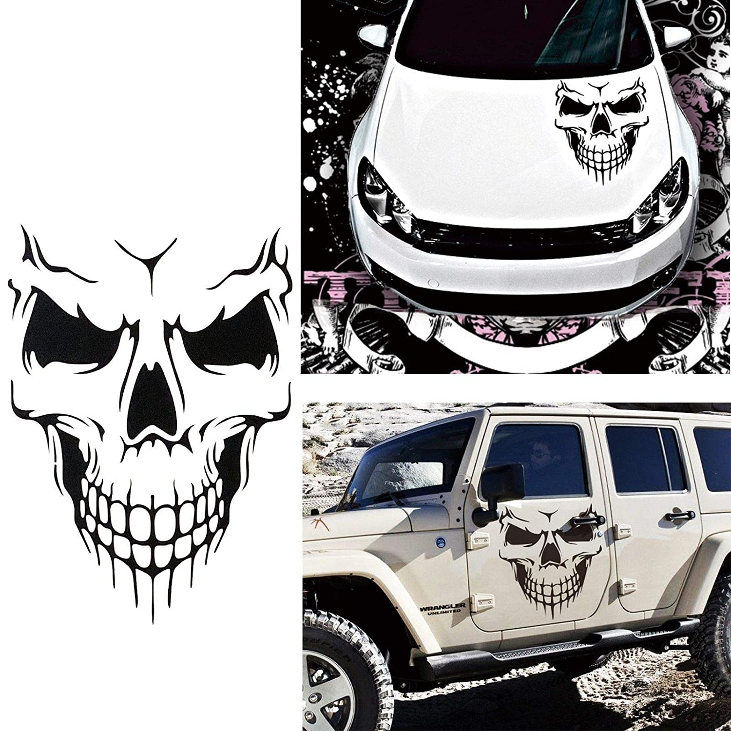 Amazon com car exterior decoration xotic tech auto front hood vinyl graphic sticker truck trailer boat door window decal 1pcs black skull shape