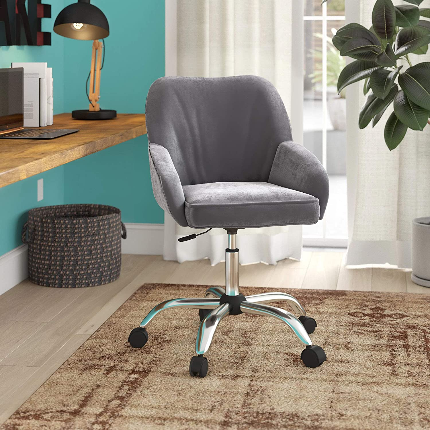 BELLEZE Upholstered Thick Padded Velvet Seat & Back w/Built-in Lumbar Support Office Task Chair, Charcoal