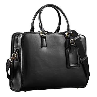 Amazon.com: Kattee Women's Leather Briefcase Messenger Bag 14 ...