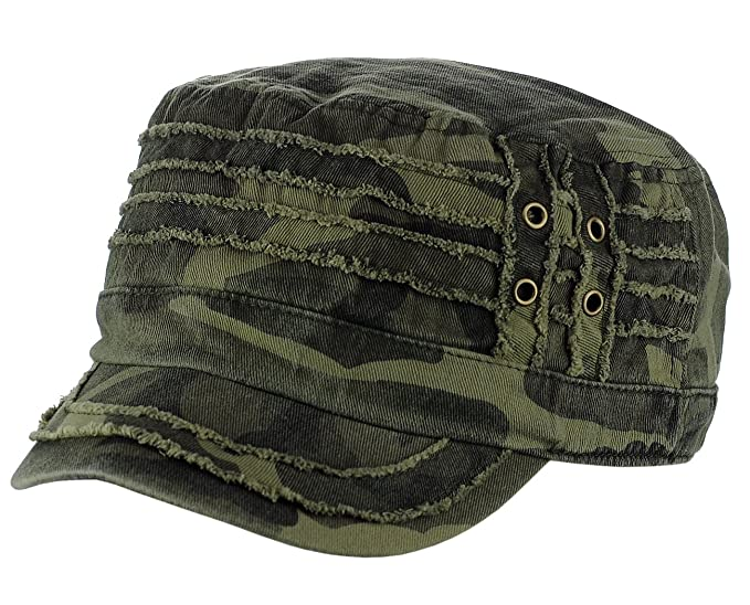 6ec1f4c0 Image Unavailable. Image not available for. Color: David & Young 100% Cotton  Light Summer Cool Military Cadet Castro Distress Hat Cap,