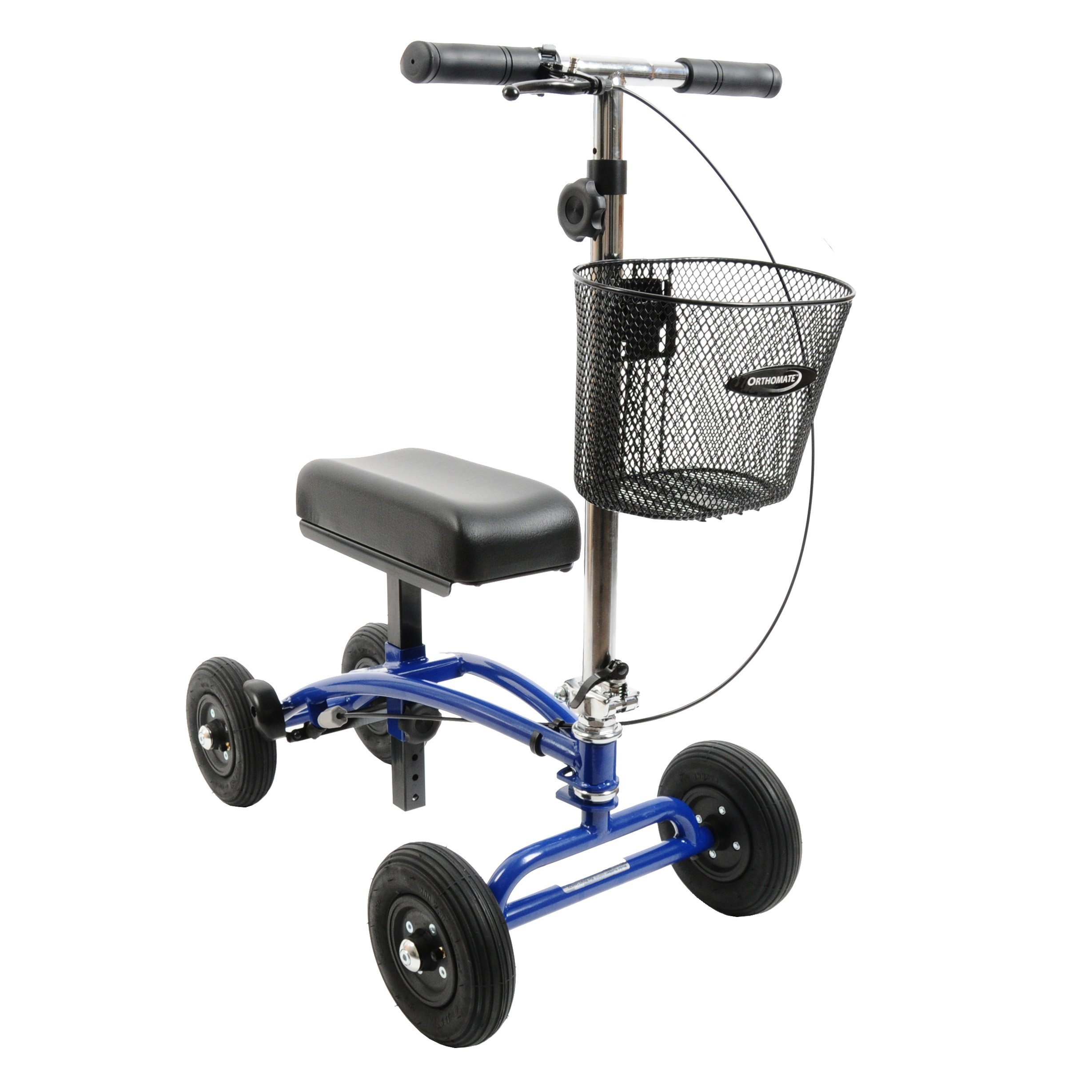All Terrain Orthomate Knee Scooter with Basket and 8'' Pneumatic Wheels - Great for Outside and Indoors - Steerable Knee Walker - No Tools Setup