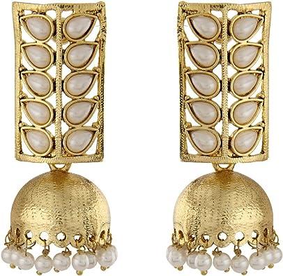 Royal Bling Bollywood Inspired Stylish Gold Plated Polki Meenakari Traditional Earrings