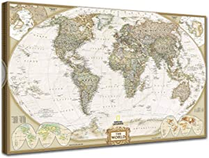 Woxfcart World Map Wall Art - World Map on Canvas - Old World Maps Print Picture,Office Living Room Walls Decor - Beige 36