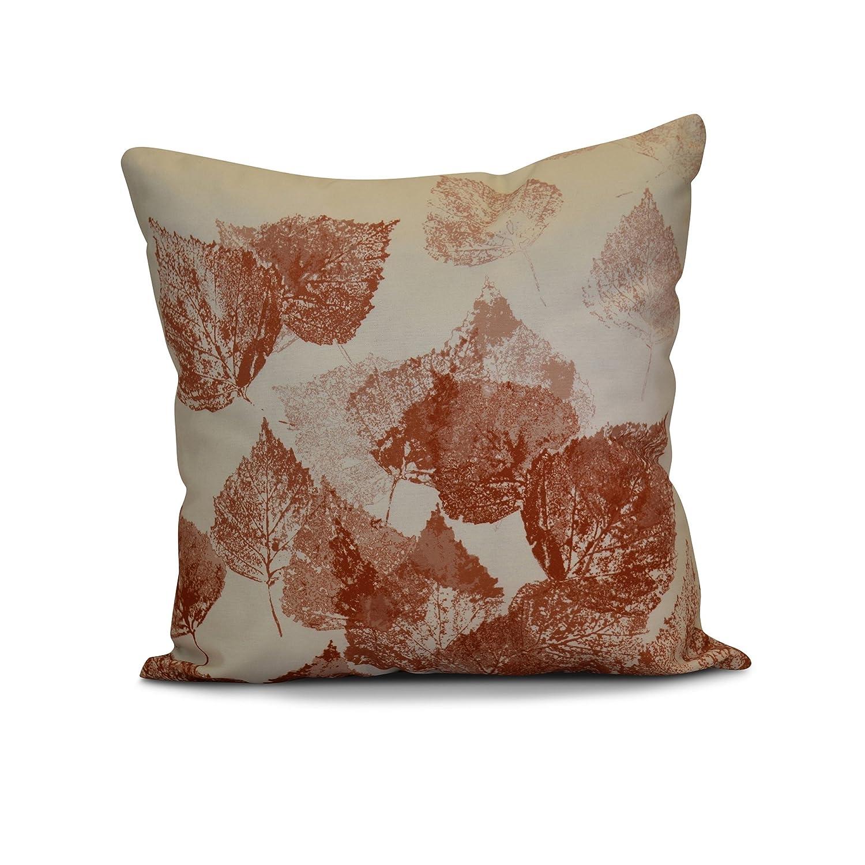 E by design PFN748OR3OR16-16 16 x 16-inch Floral Print Pillow 16x16 Orange Fall Memories