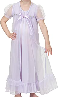 product image for Laura Dare Big Girls Short Sleeve Peignoir Nightgown Robe Set w Scrunchie, 7-14
