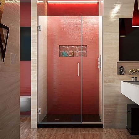 Dreamline Unidoor Plus 41 1 2 42 In W X 72 In H Frameless Hinged Shower Door In Brushed Nickel Shdr 244157210 04