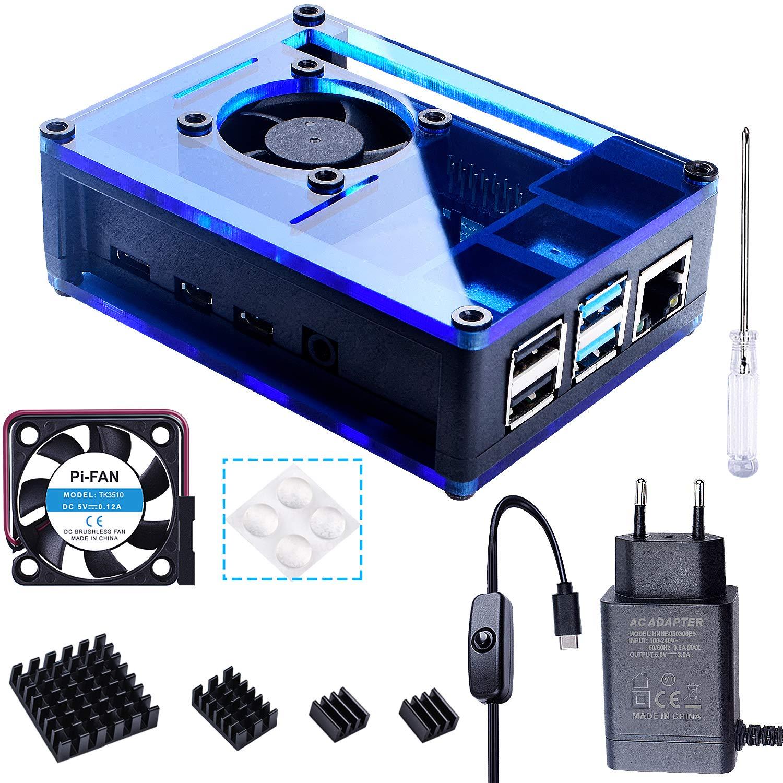 Compatible con Raspberry Pi 4 Modelo B Gran Ventilador y Disipadores - Negro y Azul Bruphny Caja para Raspberry Pi 4 con 35mm Ventilador 4 X Disipador Cargador de 5V // 3A USB-C