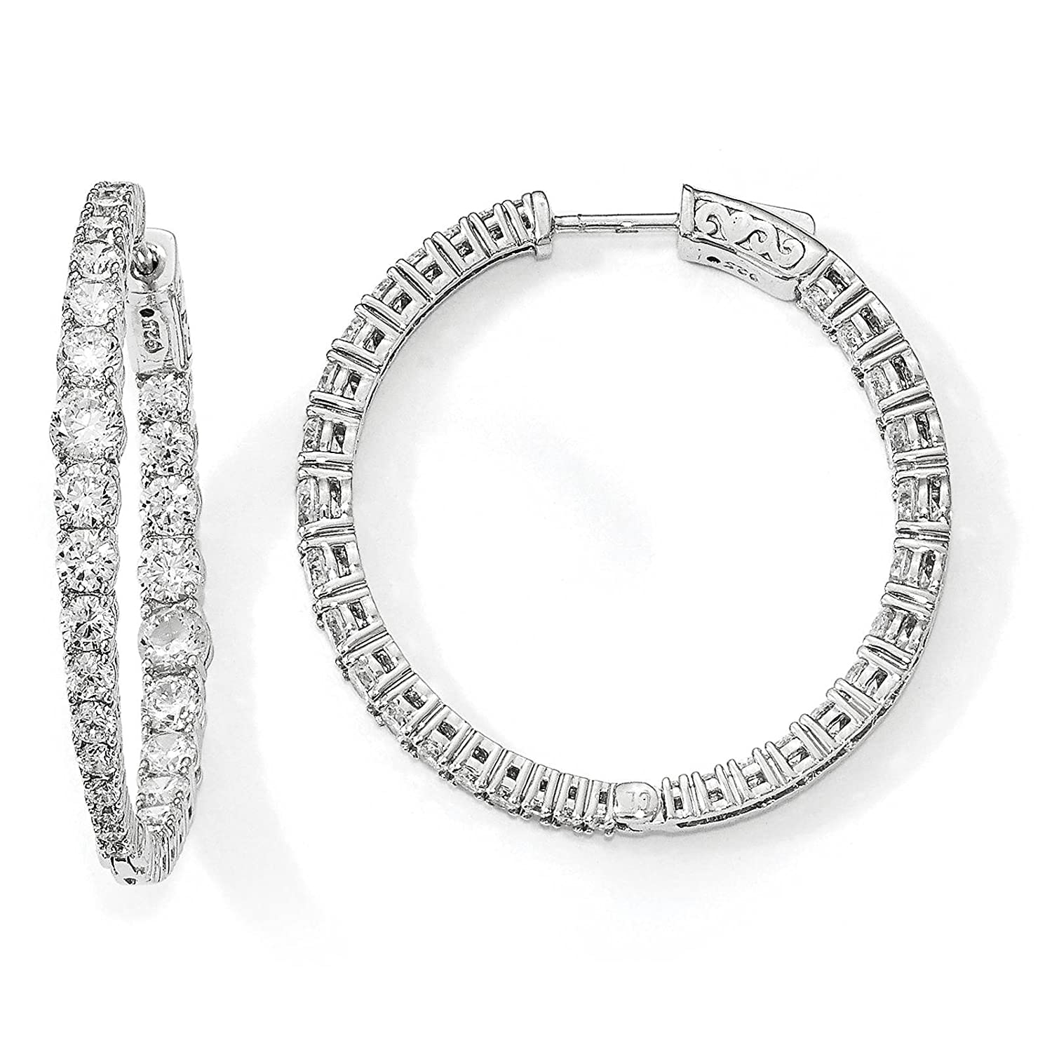 925 Sterling Silver Rhodium-plated Graduated CZ In /& Out Round Hoop Earrings by Sterling Shimmer