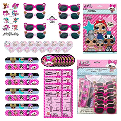 LOL Surprise Dolls Birthday Party Favor Set for 16 Guests - Includes Goody Bags, Filler Loot (Tattoos, Stickers, Notepads, Glasses, Activity Pads) and Sticker for Birthday Girl: Toys & Games