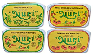 NURI Portuguese Sardines Variety Pack   4 Pack Bundle   One of Each   Pure Olive Oil, Spiced Pure Olive Oil, Tomato and Olive Oil AND Spiced Tomato and Olive Oil