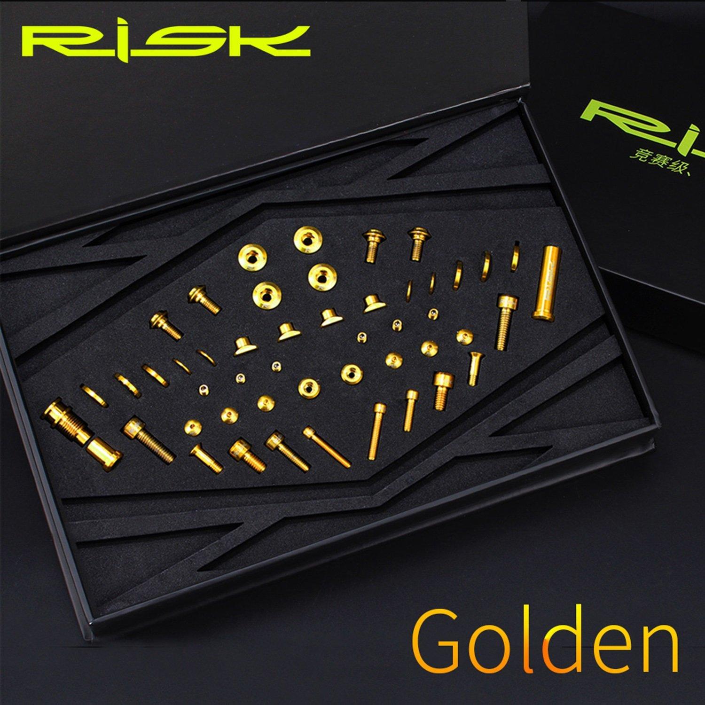 UT R8000 チタン合金 スクリューキット Cクランプフロントとリアダイヤルスクリューセット ロードバイク用 (Color : Gold)  Gold B07NPM2NYQ