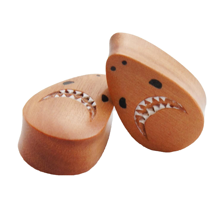 Sawo Wood Teardrop Great White Shark Plugs Bandaru Organics band163_10