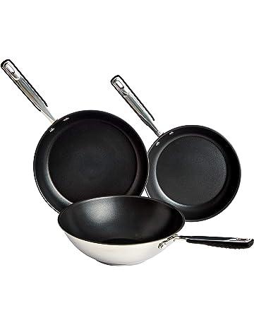 AmazonBasics - Utensilios de cocina, antiadherente de inducción de acero inoxidable