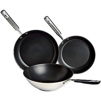 AmazonBasics - Juego de sartenes y wok de acero inoxidable ...