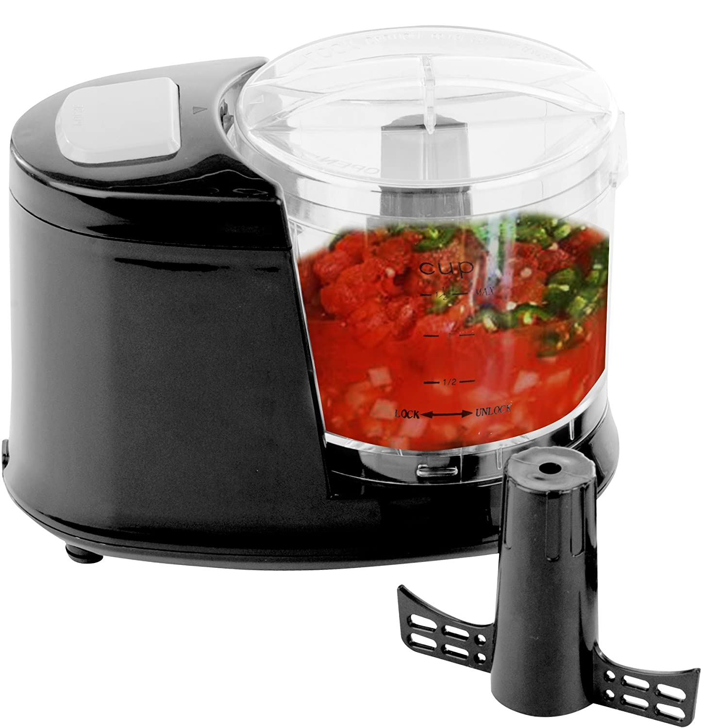 OVENTE PF1006B Mini Food Processor 100-Watts, with One Touch Pulse Control, Chopping Blade, Shredding Disc and Mixer, Black, 1.5L Bowl