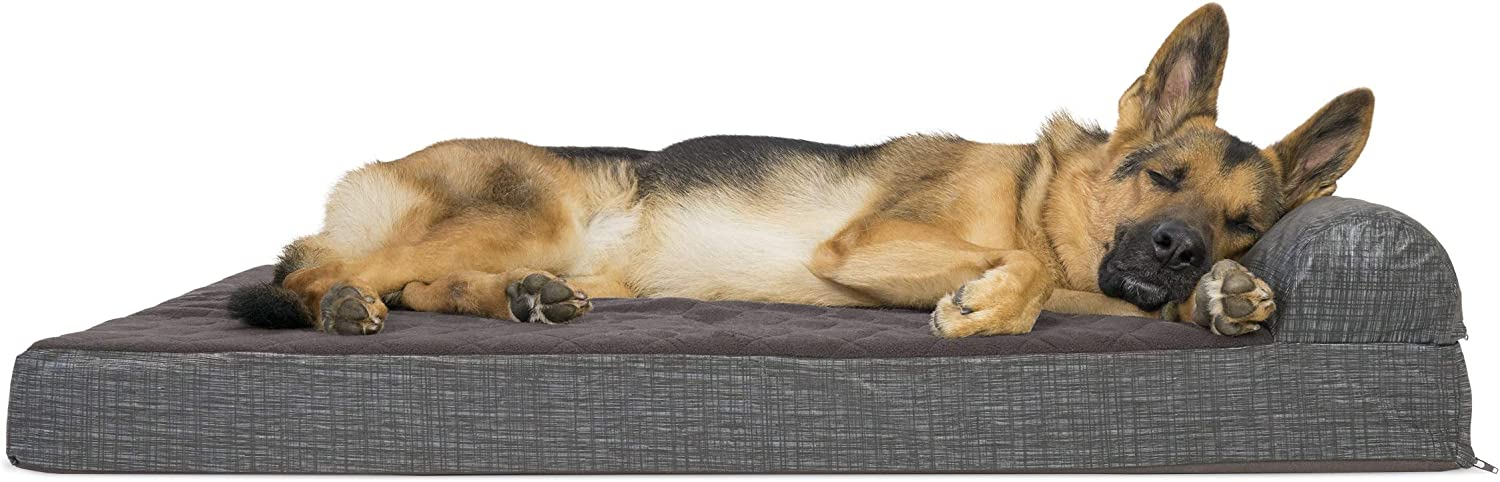 Furhaven Pet Dog Bed - Deluxe Orthopedic Quilted Fleece and Print Suede Chaise Lounge Living Room Couch Pet Bed with Removable Cover for Dogs and Cats, Espresso, Jumbo : Pet Supplies