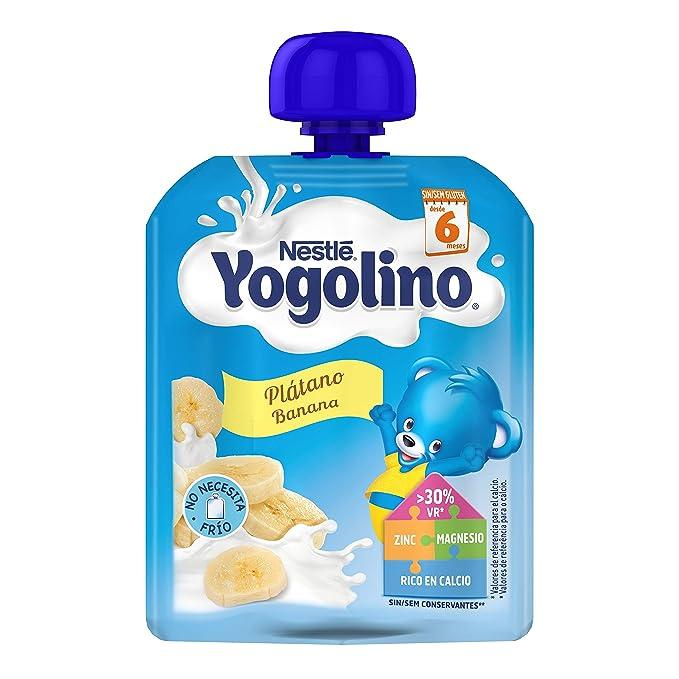 Nestlé Yogolino Postre lácteo Bolsitas con Plátano - Para bebés a partir de 6 meses -