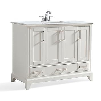 Simpli Home Elise Inch Bath Vanity With Bombay White Quartz - 42 inch bathroom vanity with top