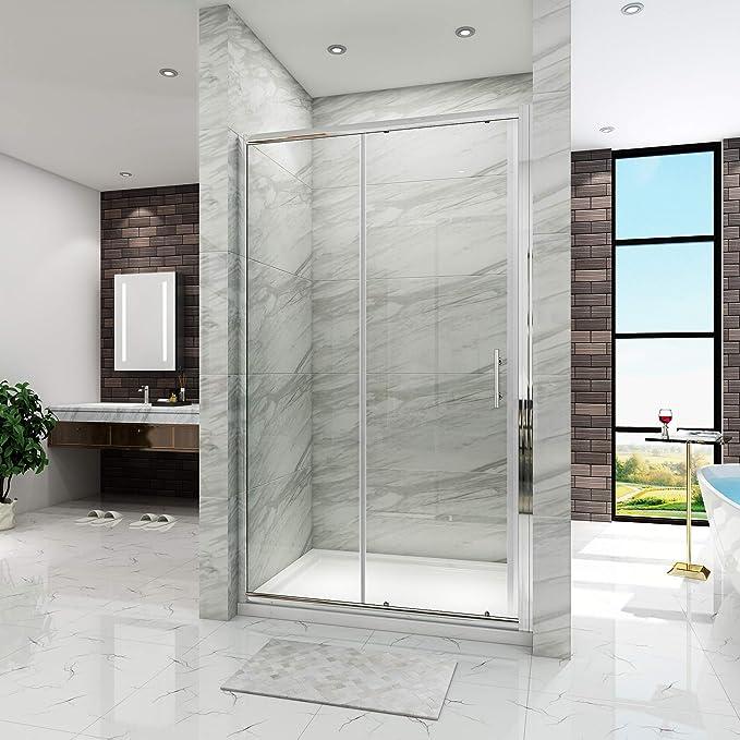 Moderna mampara de para cubículo de ducha con puerta corredera, con panel corredero: Amazon.es: Hogar