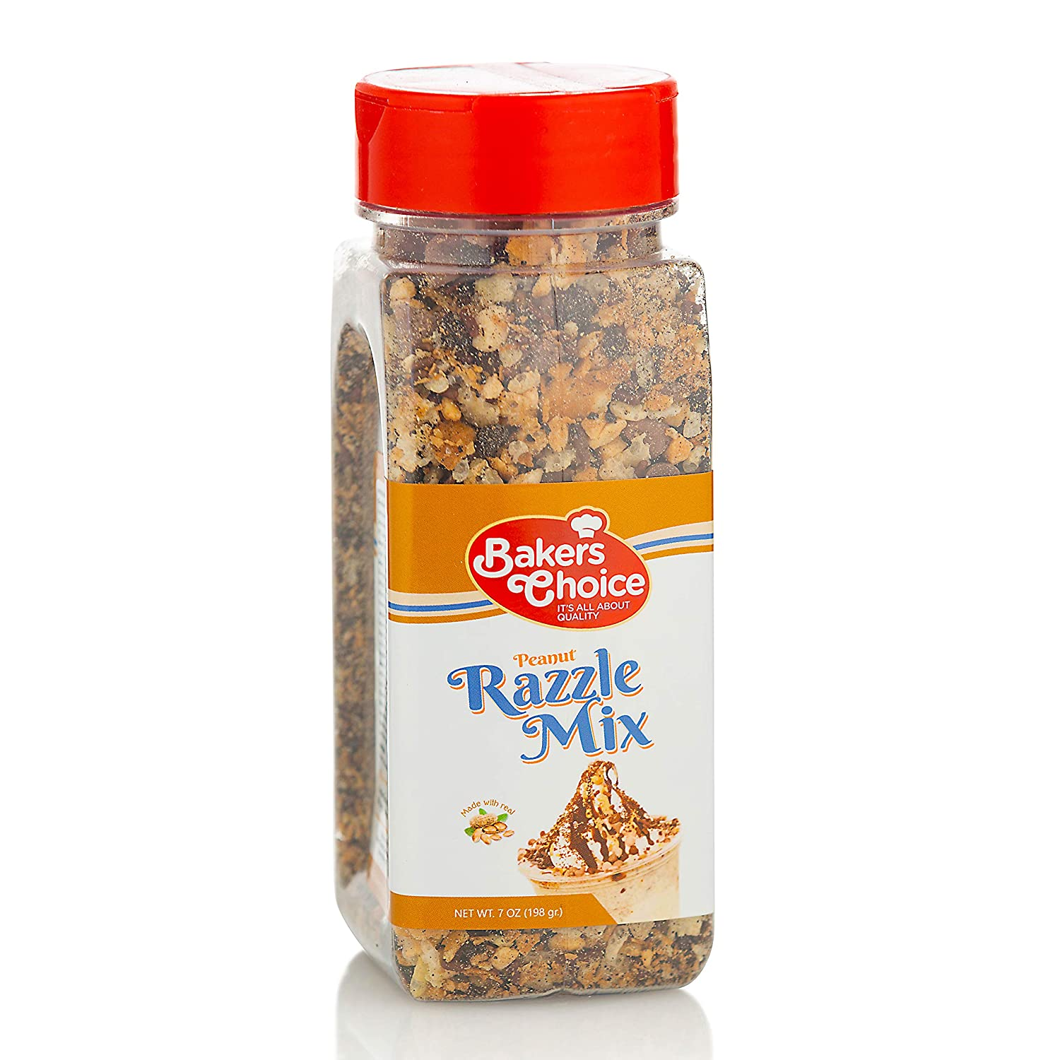 Peanut Razzle Crunch Topping - Chocolate, Caramel, Butterscotch and Peanut Mix - Sprinkles for Ice Cream Sundae Toppings - 7 oz. - Dairy Free, Kosher - Baker's Choice