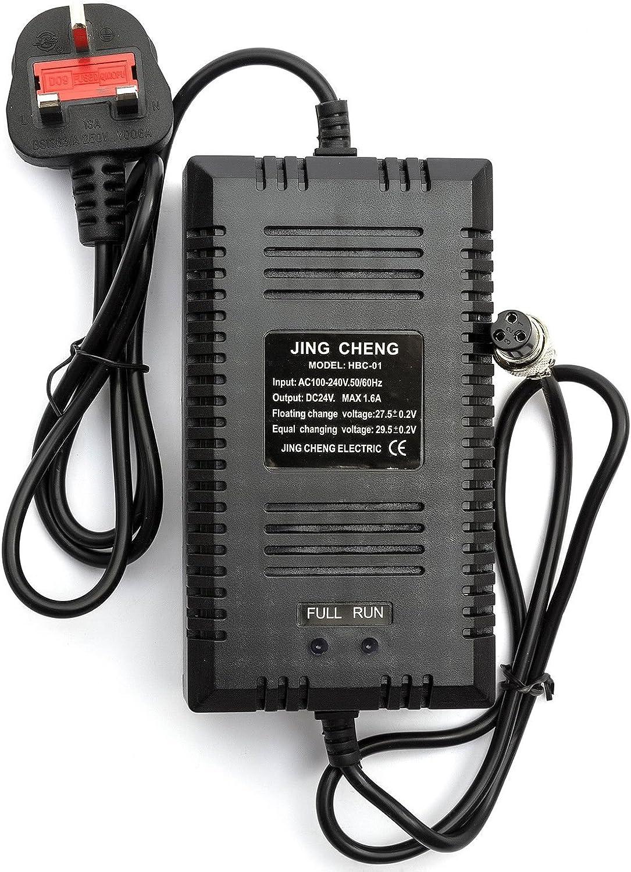 BEESCLOVER Cargador de batería de Repuesto para Motocicleta, 24 V, 1,6 A, portátil, Duradero, para Scooter eléctrico, Color Negro