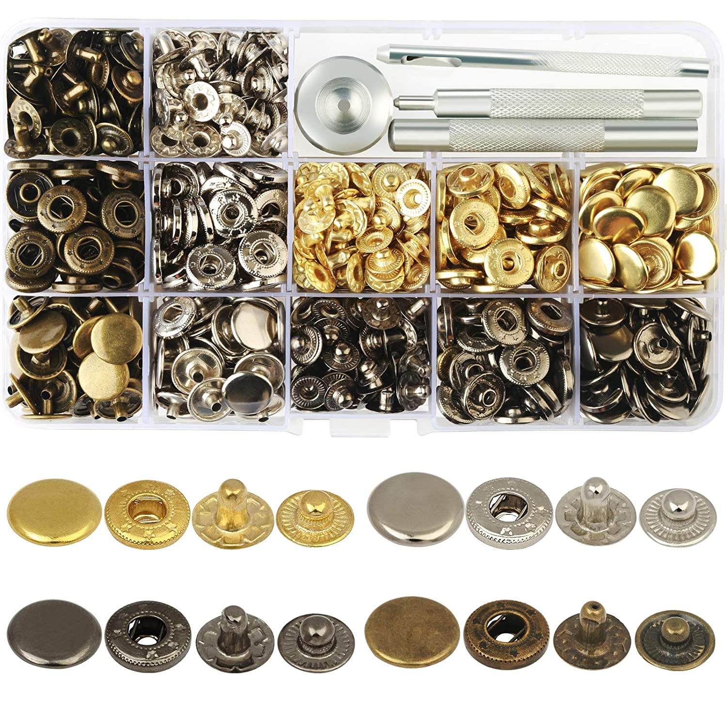 LANMOK 160 Sets Snap Fasteners Durable Metal Snap Button Kit Tool Press Studs with Base & Fixing Tool for Overalls Backpacks Belts Leather Craft-12.5mm in Diameter 4337006008