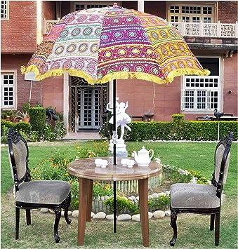 Marusthali Lentejuelas Decorativas Trabajo Bordado Exterior Grande Jardín Sombrilla Sombrilla Grande: Amazon.es: Jardín