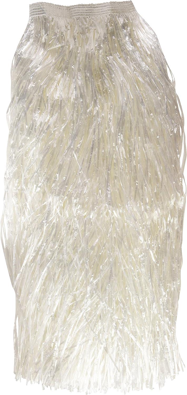Verbetena - Falda Hawaiana rafia larga, color blanco con velcro ...