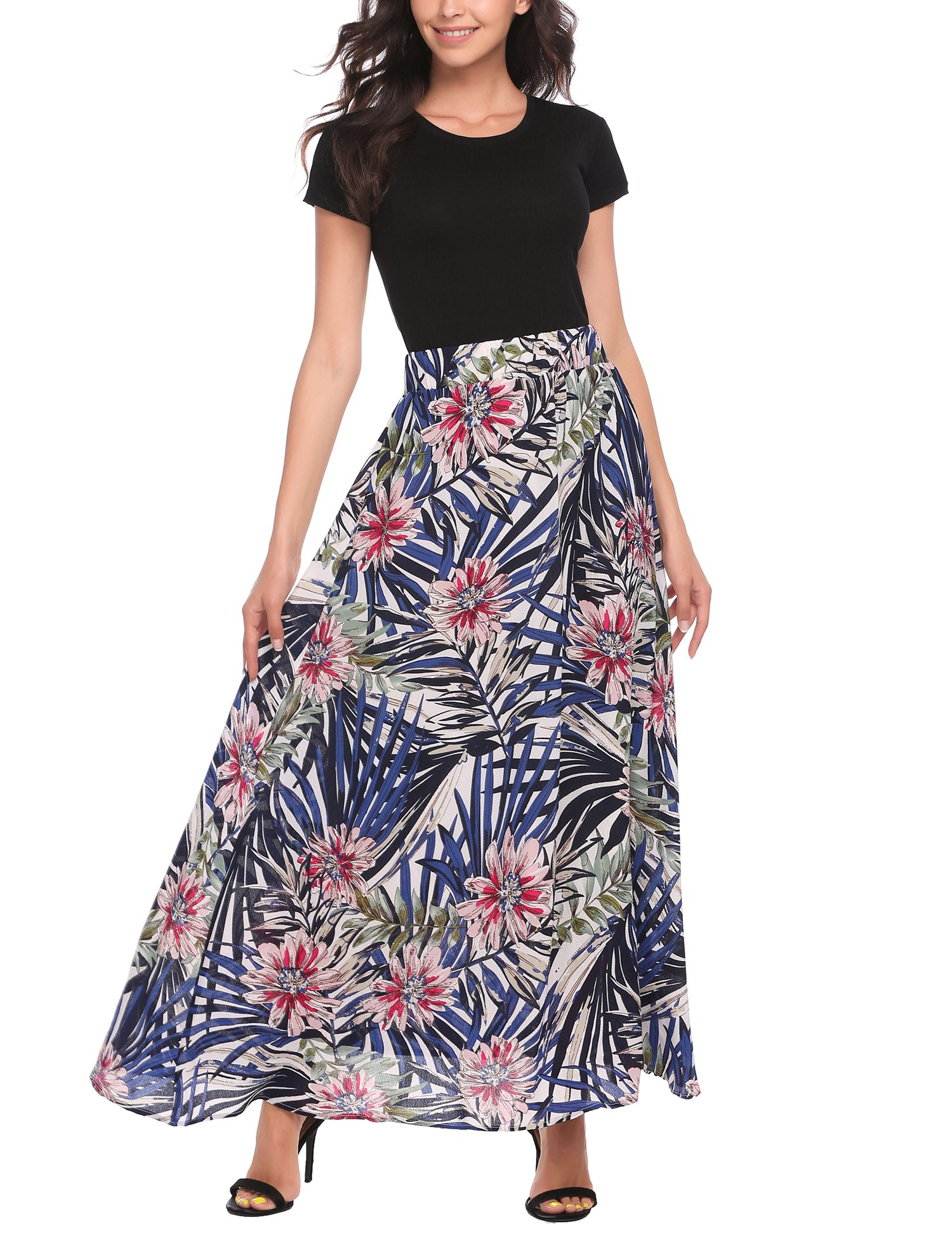 Zeagoo Women African Boho Floral Print High Waist Beach Party Bohemia Long Maxi Skirt by Zeagoo (Image #3)