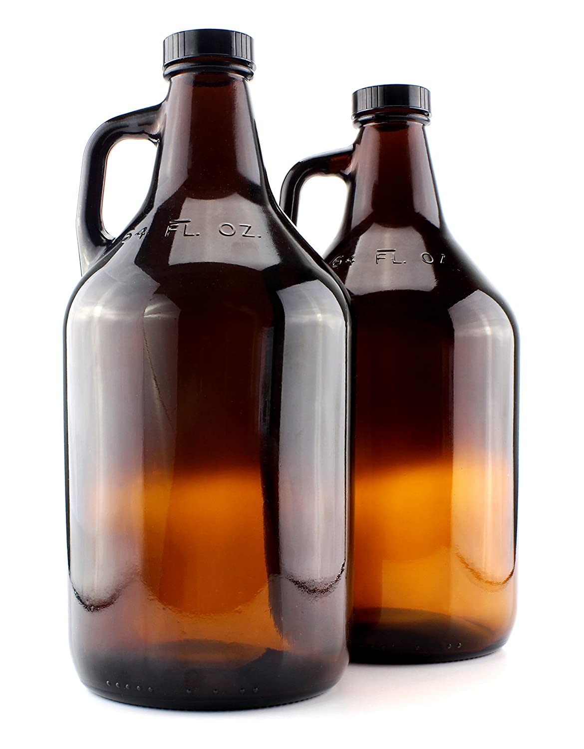 Amber Glass Growler Jugs 64-Ounce/Half Gallon (2-Pack) w/Black Phenolic Lids, Great for Kombucha, Home Brew, Distilled Water, Cider & More