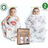 """BABY MUST HAVE❤️- SET of 2 PREMIUM 100% ORGANIC COTTON MUSLIN BLANKETS by BABYJU - Unisex - Cute Design for BOYS and GIRLS - LARGE - 47""""x 47"""""""