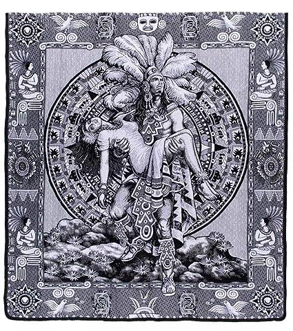 Del Mex Mexicano Calendario Azteca Reversible Colcha De Maya Color