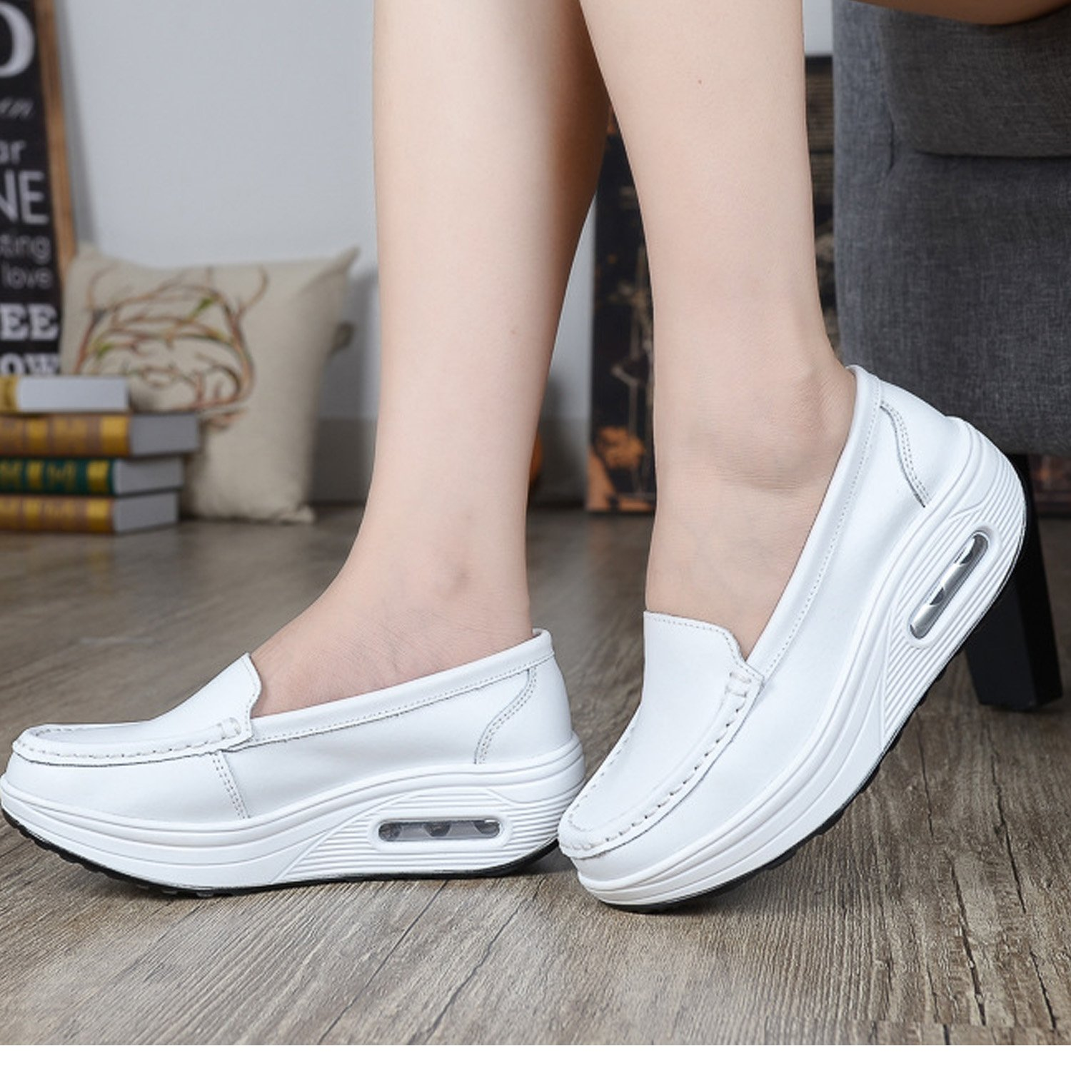 Maybest Womens Lightweight Air-Cushion Sports Nurse Shoes Mother Shoes Casual Shape Ups Walking Work Shoes FBA