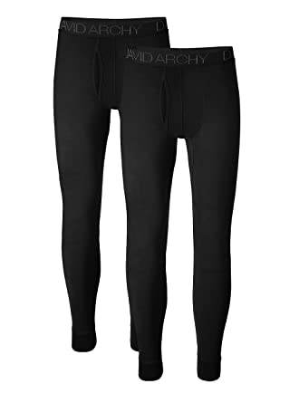 998fef06794647 David Archy Men's 2 Pack Ultra Soft Winter Warm Base Layer Pants Fleece  Lined Thermal Bottoms