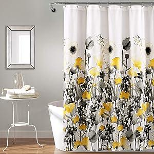 "Lush Decor, Yellow and Gray Zuri Flora Shower Curtain-Fabric Watercolor Floral Print Design, 72"" x 72"""