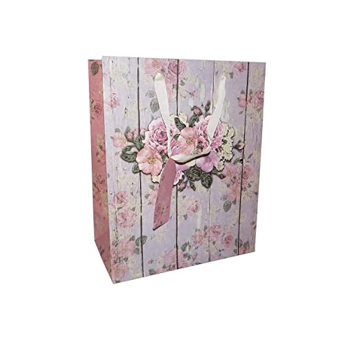 6 bolsas de papel de regalo de flores grandes con etiquetas ...