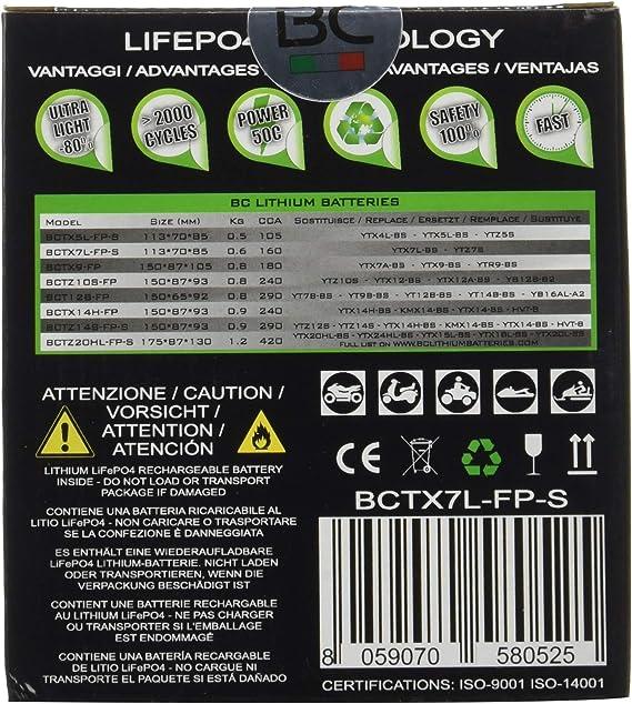 Bc Lithium Batteries Bctx7l Fp S Motorrad Lithiumbatterie Lifepo4 Black 1 Auto