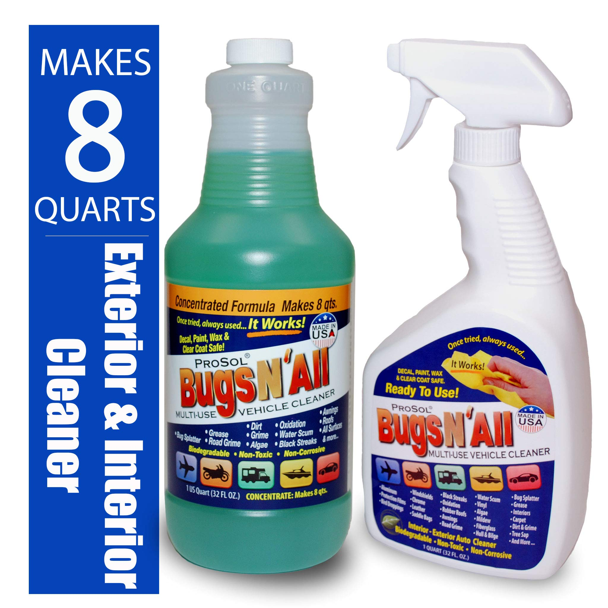 Bugs N All - Multi-Surface Vehicle Cleaner/Bug Remover. 1qt. Concentrate Makes 8 Quarts. Includes an Empty 1 Qt. Spray Bottle - Safe on Wax, Clear Coat, Paint, Decals and on All Surfaces. by ProSol (Image #1)