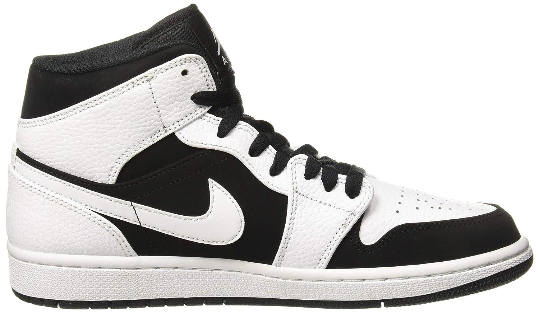 Nike Air Jordan 1 Mid, Scarpe da Basket Uomo, Bianco (WhiteBlackWhite 113), 45.5 EU