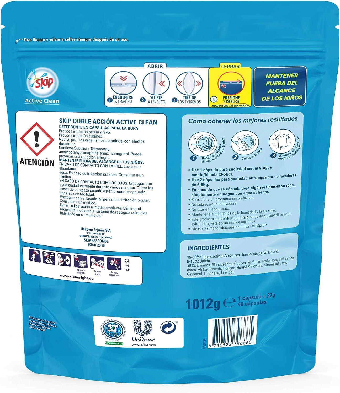 Skip Active Clean Detergente Cápsulas para Lavadora - Paquete de 4 ...